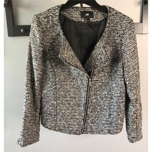 H & M Black and White Zip up Blazer US Size 12